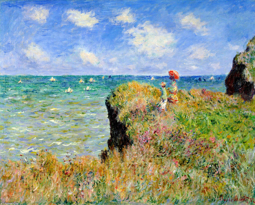 famous painting clifftop walk en pourville of Claude Monet