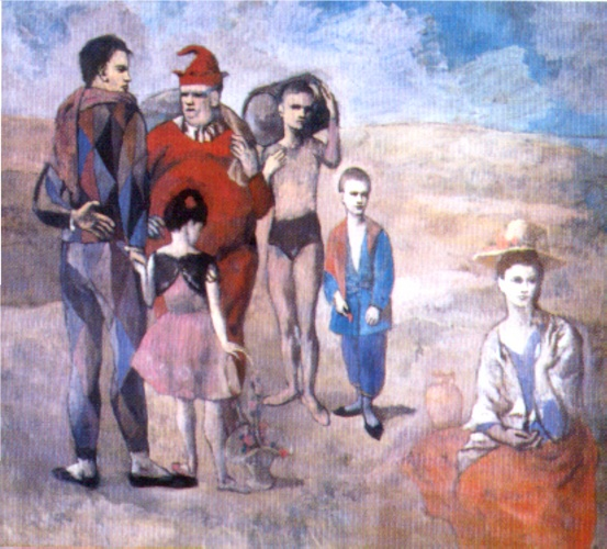 famous painting Saltimbanques ( la familia de los saltimbanques. ) of Pablo Picasso