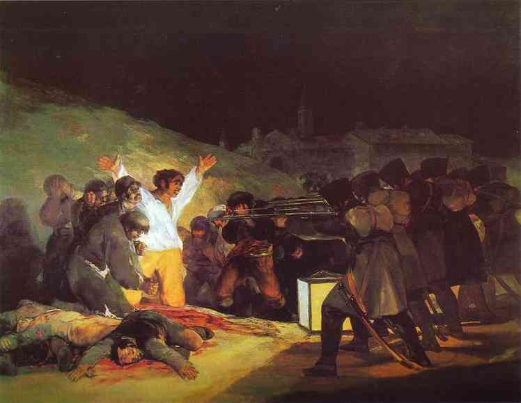 famous painting el tres de mayo de en madrid , 1808 la ejecución de los defensores de madrid of Francisco De Goya