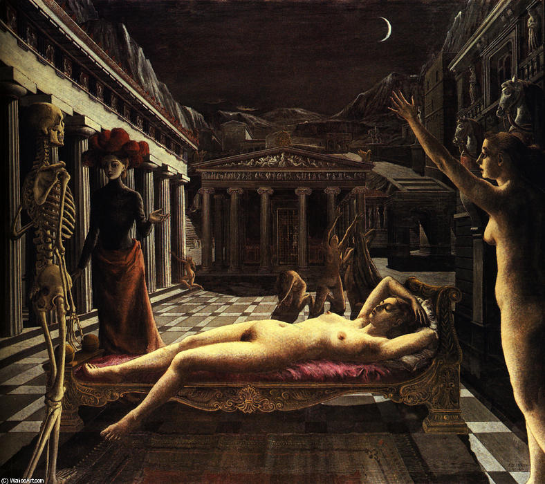 | el durmiendo venus de Paul Delvaux | Most-Famous-Paintings.com
