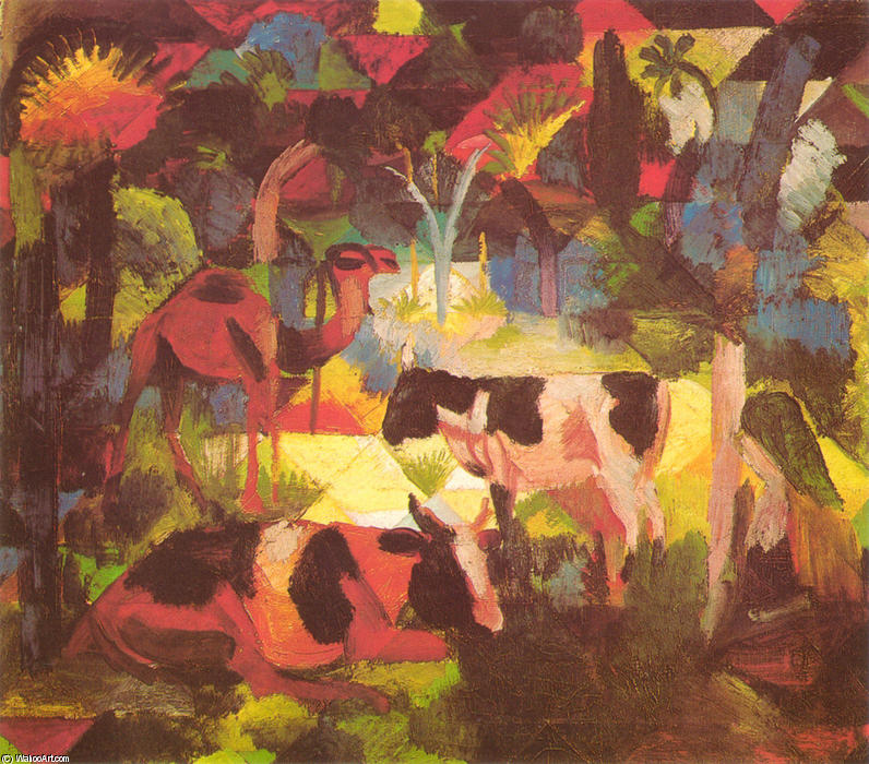 famous painting paisaje con vacas y camello of August Macke