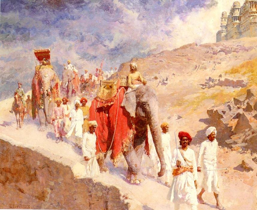 famous painting una fiesta de caza india of Edwin Lord Weeks