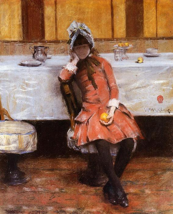 famous painting Chica joven en un océano Steamer of William Merritt Chase