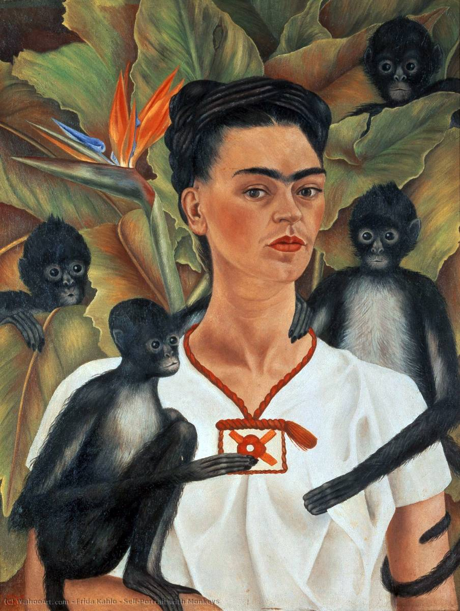 famous painting Autorretrato con monos of Frida Kahlo