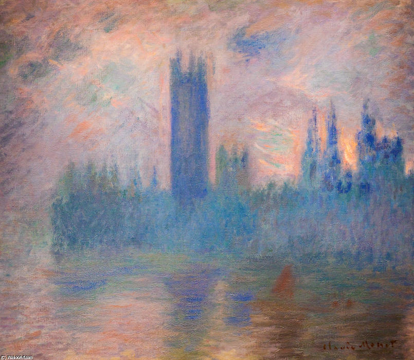 famous painting casas del parlamento , Westminster of Claude Monet