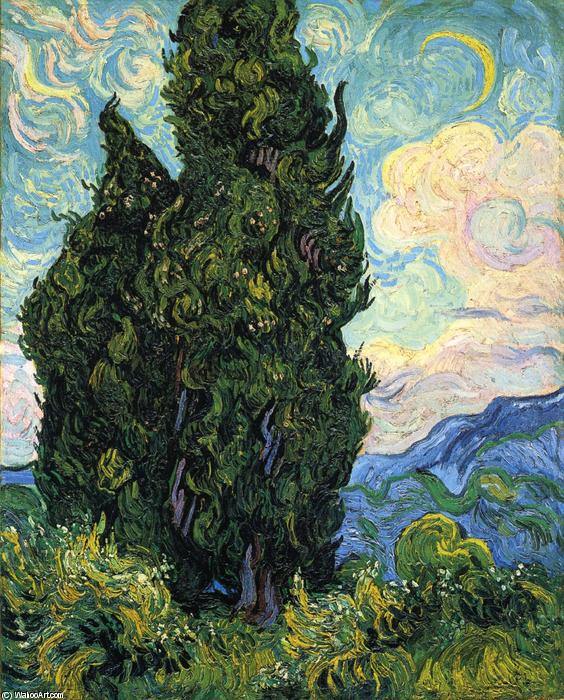famous painting Cipreses of Vincent Van Gogh