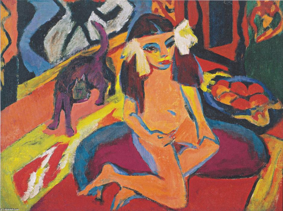 famous painting chica con gato ( Franzi ) of Ernst Ludwig Kirchner