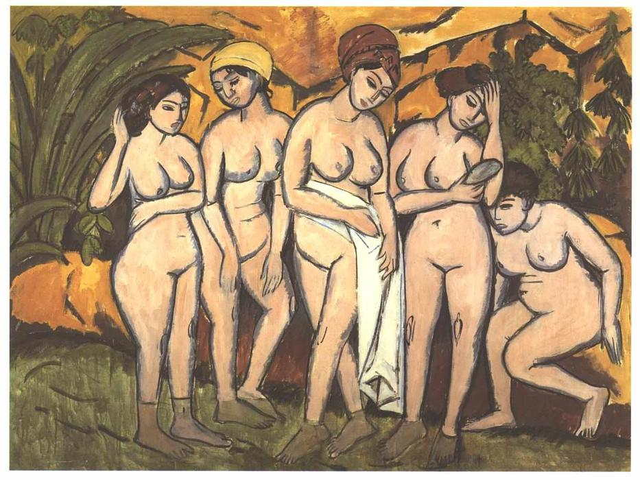 famous painting cinco bañandose mujeres en una lago of Ernst Ludwig Kirchner