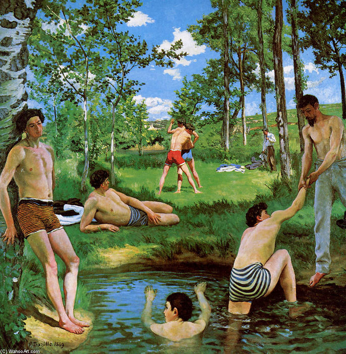 famous painting bañistas verano  escena  of Jean Frederic Bazille