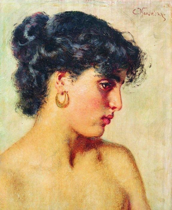 famous painting Botas retrato del dark-haired la belleza of Konstantin Yegorovich Makovsky