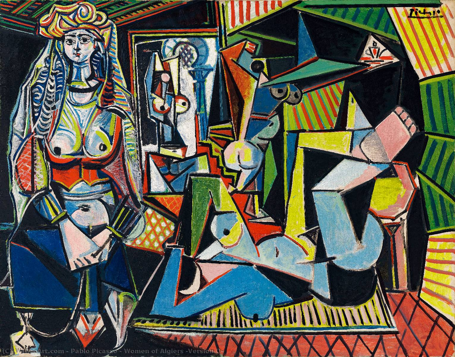 | mujeres de argel ( versión o ) de Pablo Picasso | Most-Famous-Paintings.com
