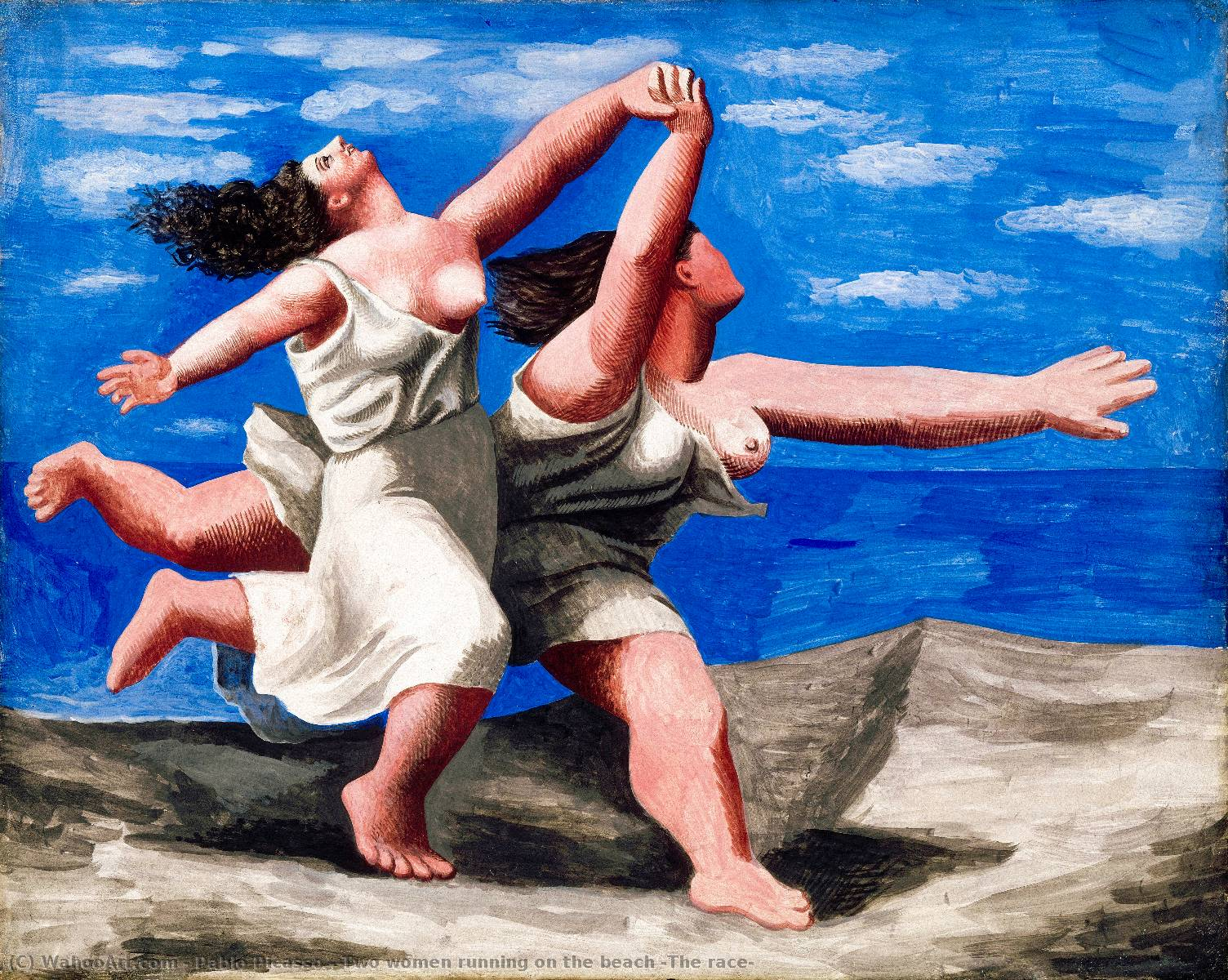 | dos mujeres corriendo  en  el  Playa  el  carrera  de Pablo Picasso | Most-Famous-Paintings.com