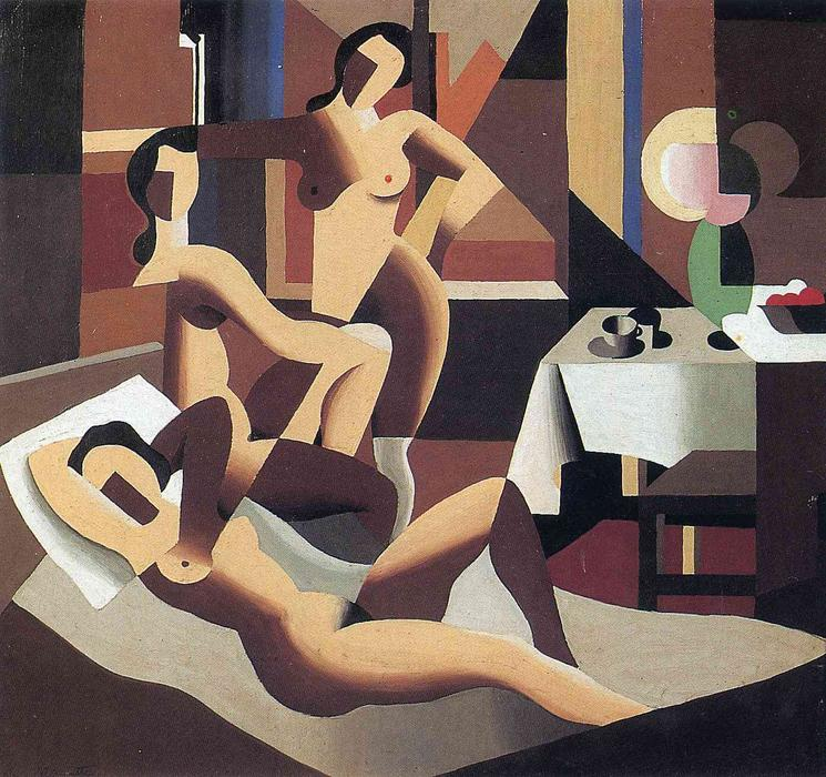 | tres desnudos para  un  el interior  de Rene Magritte | Most-Famous-Paintings.com