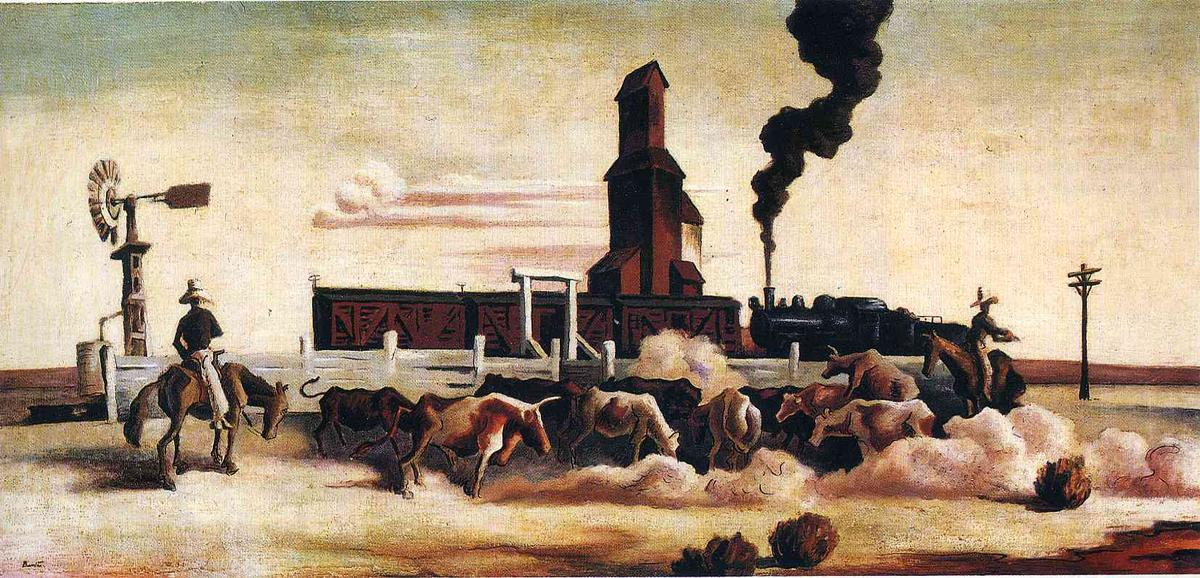 | Ganado Cargando de Thomas Hart Benton | Most-Famous-Paintings.com