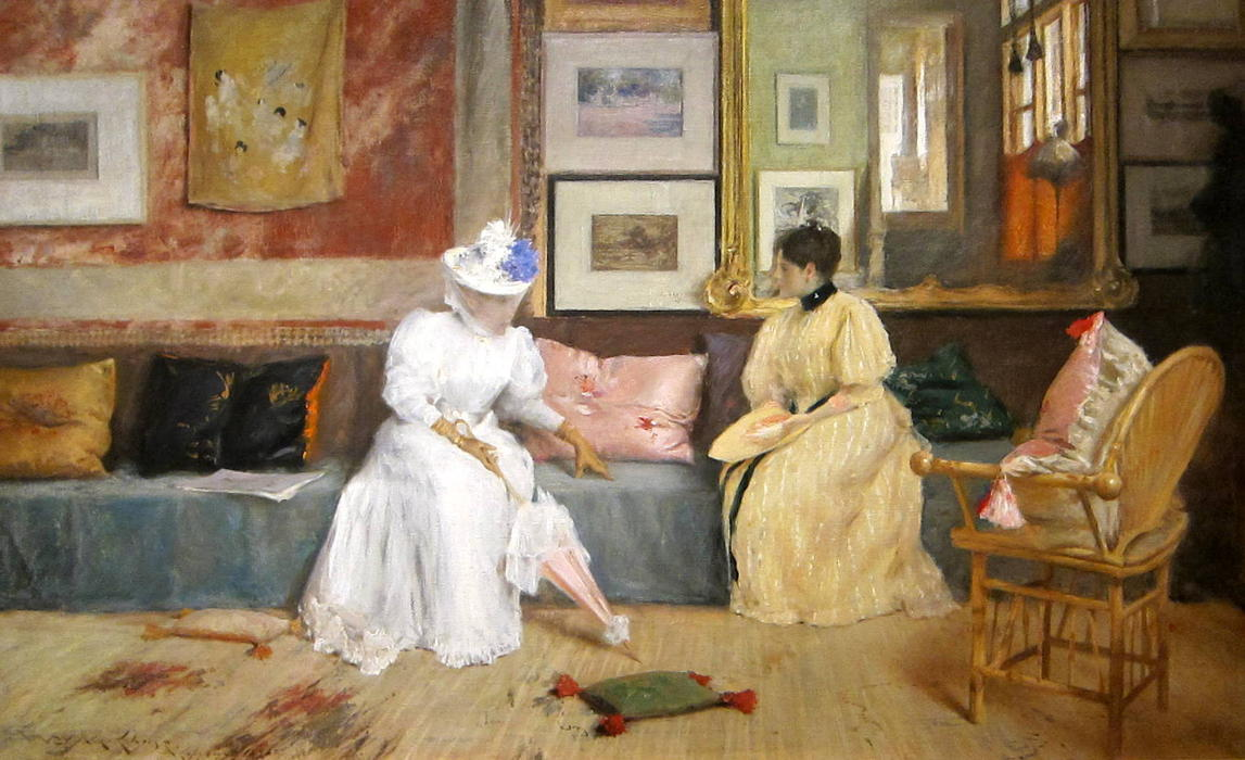 famous painting Un amable  llamada  of William Merritt Chase