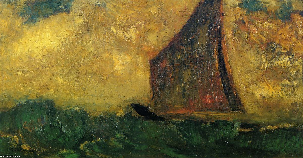famous painting El misterioso Barco of Odilon Redon