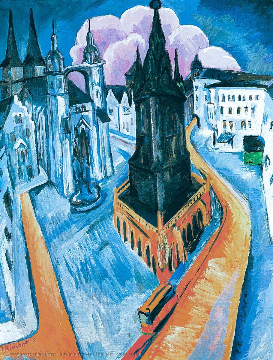 famous painting el rojo torre a Halle of Ernst Ludwig Kirchner