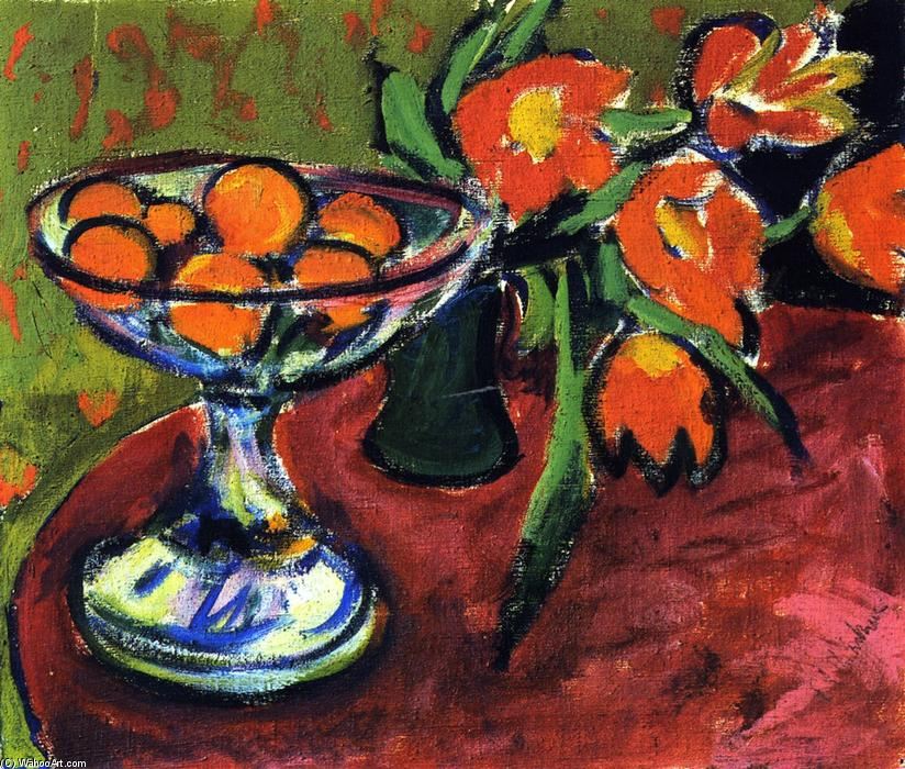famous painting Naturaleza muerta con naranjas y tulipanes of Ernst Ludwig Kirchner