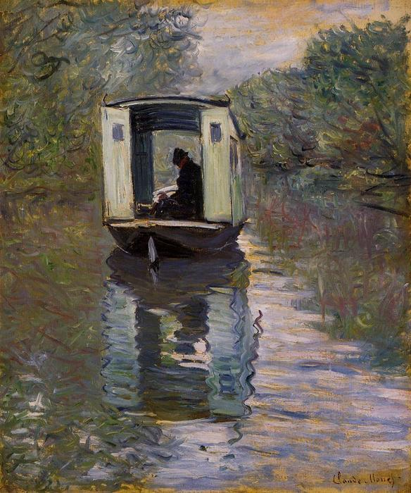 famous painting The Boat Studio of Claude Monet