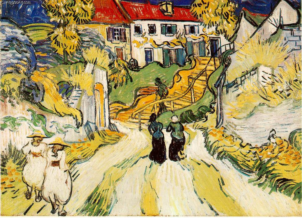 famous painting Escaleras Village of Vincent Van Gogh