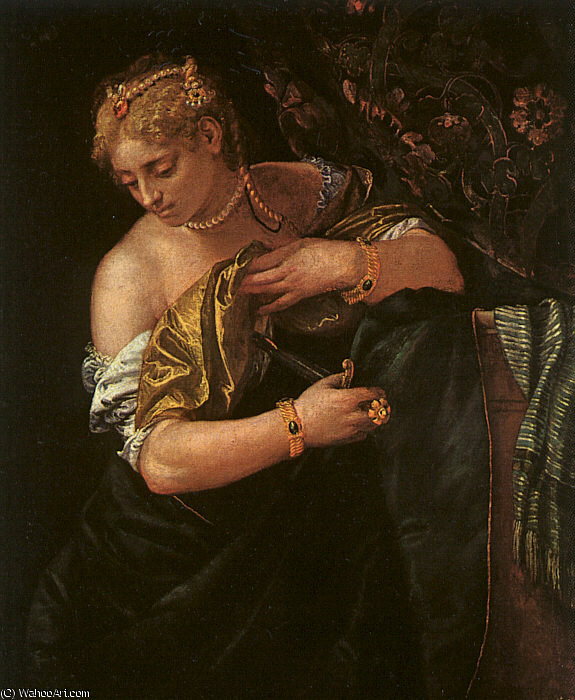 famous painting Lucretia puñalada ella misma , history art mus of Paolo Veronese