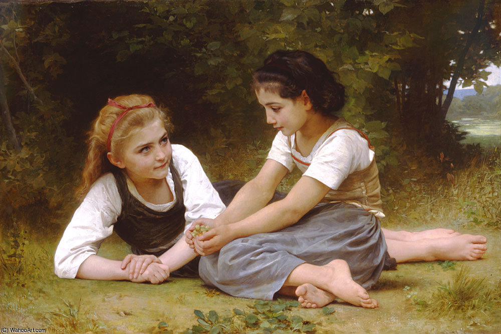 Pedir Grabados De Calidad Del Museo | Les noisettes de William Adolphe Bouguereau | Most-Famous-Paintings.com