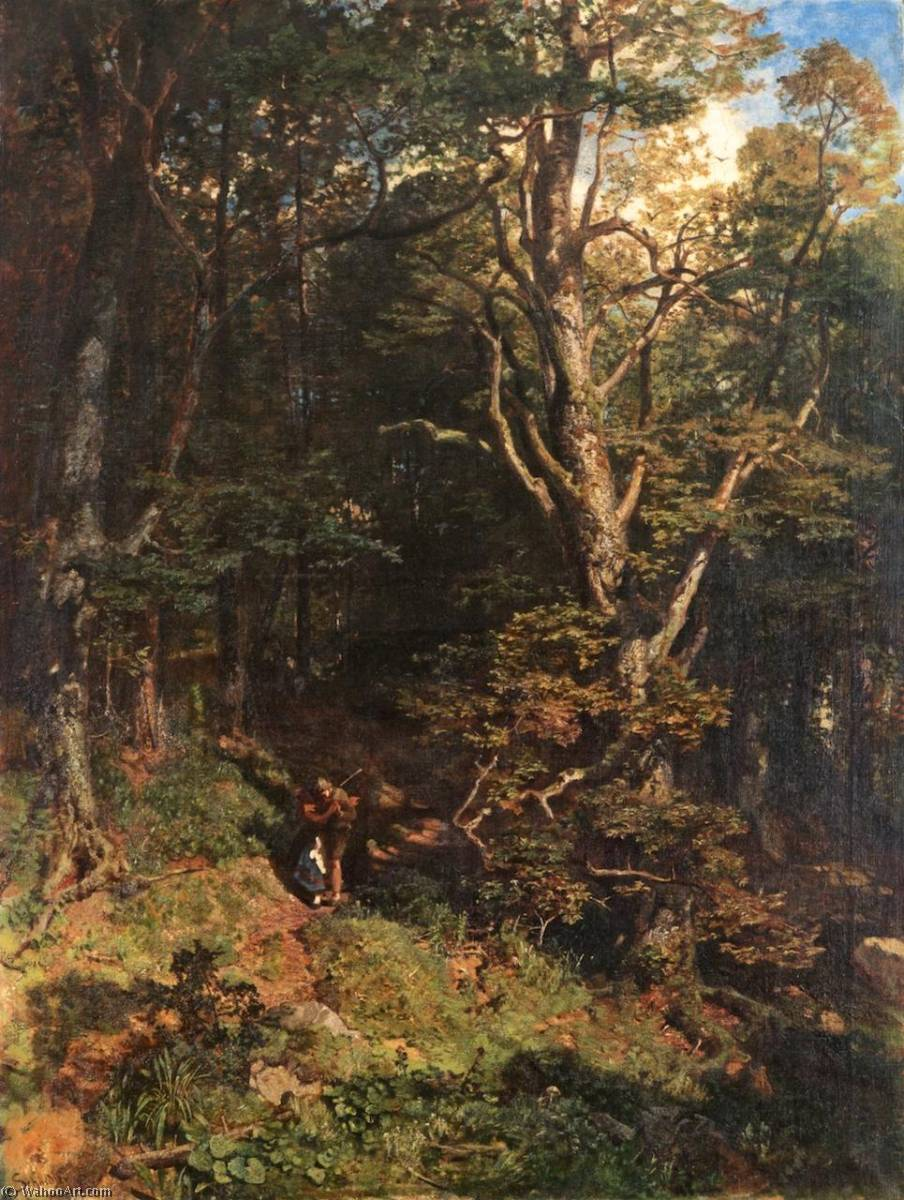 Pedir Reproducciones De Pinturas | Abrazar en el  bosque  de Emil Jacob Schindler | Most-Famous-Paintings.com