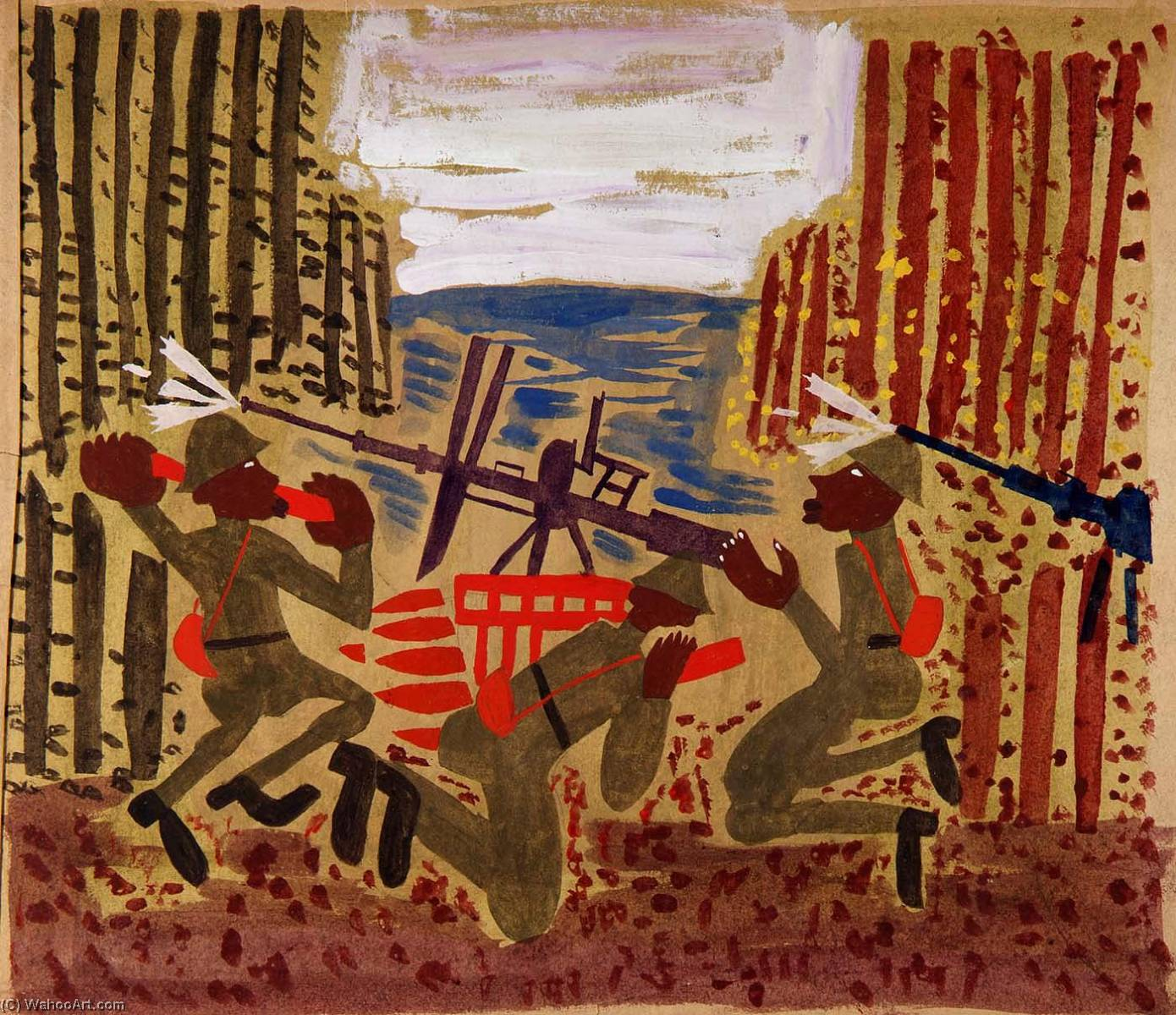 | guerra escena de William Henry Johnson | Most-Famous-Paintings.com